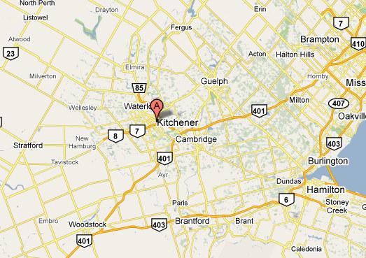 Map of Kitchener-Waterloo Ontario